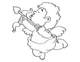 Desenho de Cupido com sua flecha para colorear