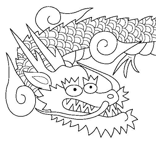 Desenho de Dragão japonês II para Colorir