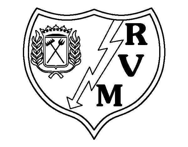 Desenho de Emblema do Rayo Vallecano de Madrid para Colorir