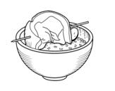 Desenho de Espetada de carne de com arroz para colorear