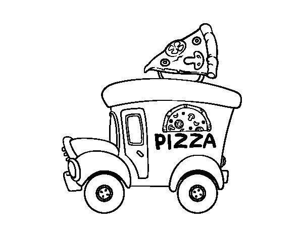 Desenho de Food truck de pizza para Colorir