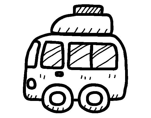 Desenho de Furgonetal com bagagem para Colorir