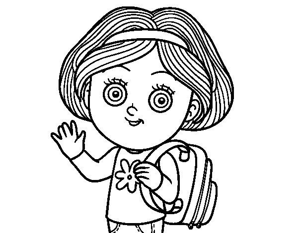 Desenho de Garota da escola para Colorir