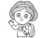 Desenho de Garota da escola para colorear