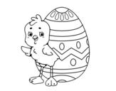 Desenho de Garota simpática com ovo de Páscoa para colorear