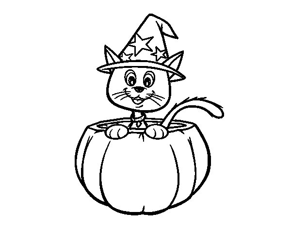 Desenho De Gato Do Halloween Para Colorir