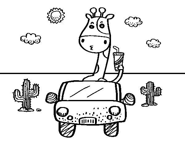 Desenho de Girafa de condução para Colorir