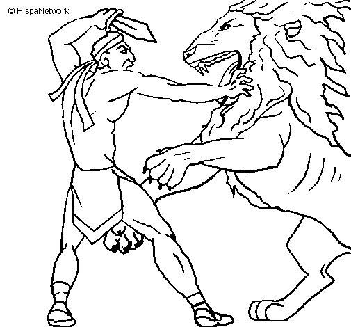 Desenho de Gladiador contra leão para Colorir