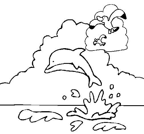 Desenho de Golfinho e gaviota para Colorir
