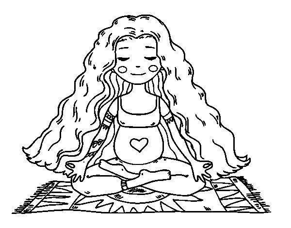 Desenho de Grávida praticando ioga para Colorir