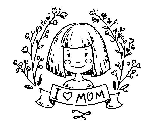 Desenho de I love mom para Colorir