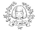 Desenho de I love mom para colorear