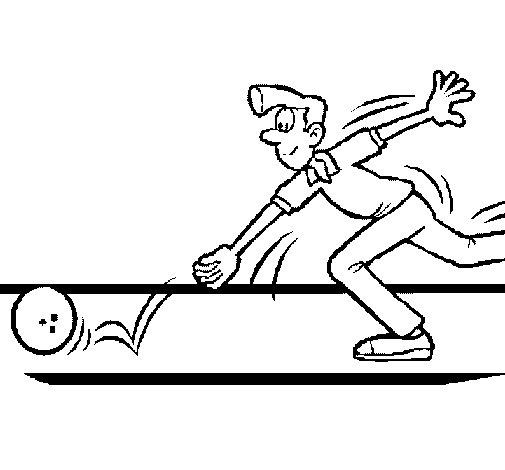 Desenho de Jogador a lançar um pino para Colorir