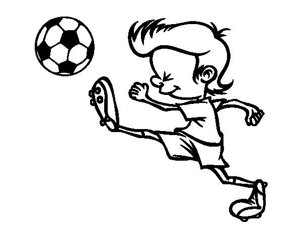 Desenho de Jogador chutando para Colorir