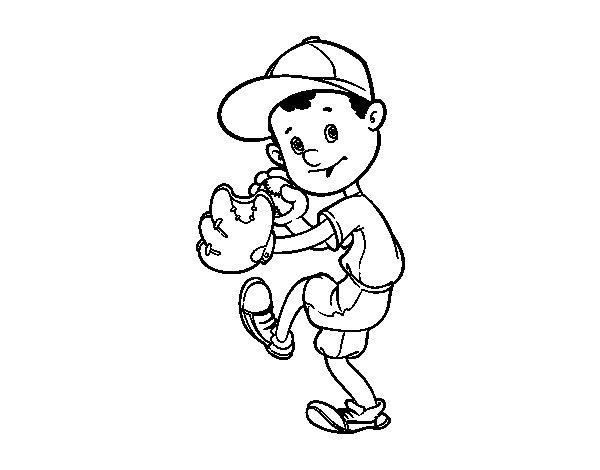 Desenho de Lançador de basebol para Colorir