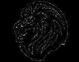 Desenho de Leão tribal para colorear