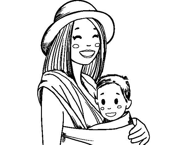 Desenho de Mãe com o portador de bebê para Colorir