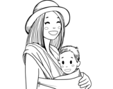Desenho de Mãe com o portador de bebê para colorear