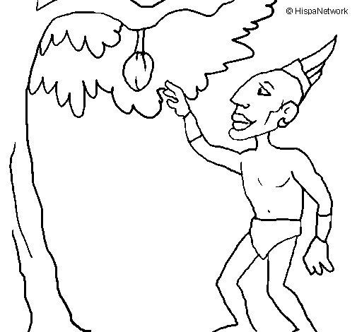 Desenho de Maia numa árvore de fruto para Colorir