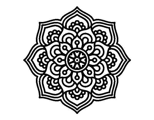 Desenho de Mandala flor de la concentração para Colorir