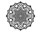 Desenho de Mandala simetria simples para colorear