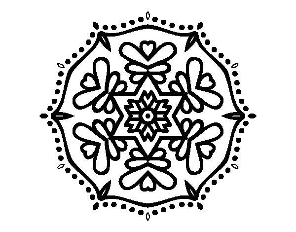 Desenho de Mandala simétrica para Colorir