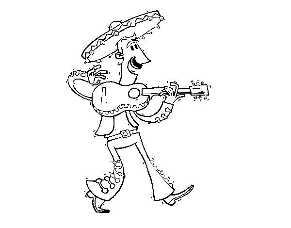 Desenho de Mariachi com guitarra para Colorir