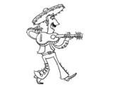 Desenho de Mariachi com guitarra para colorear