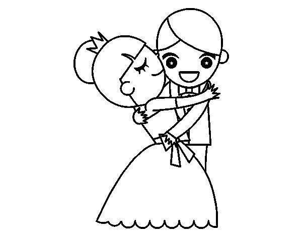 Desenho de Marido e mulher dançando para Colorir
