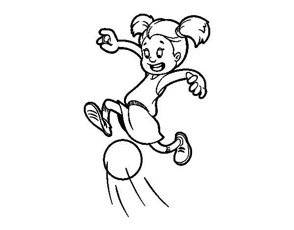 Desenho de Menina a jogar futebol para Colorir