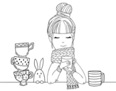 Desenho de Menina com lenço e xícara de chá para colorear