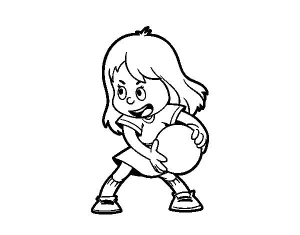 Desenho de Menina com uma bola para Colorir