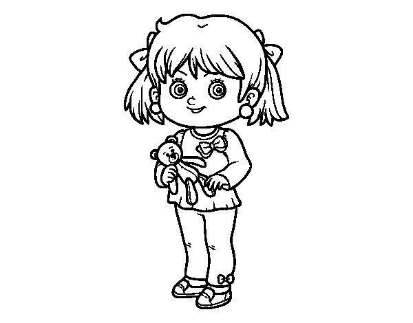 Desenho de Menina com urso de peluche para Colorir