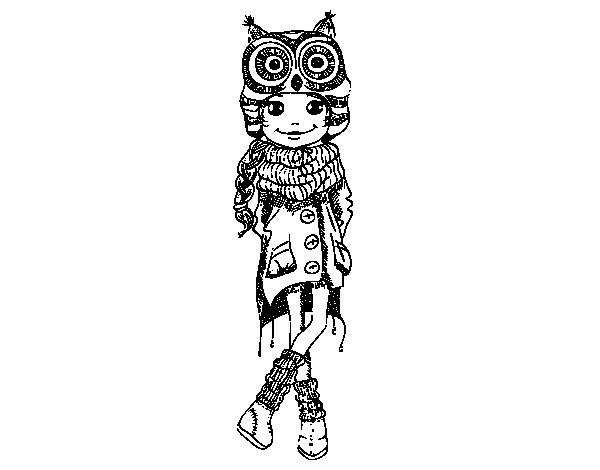 Desenho de Menina de moda de inverno para Colorir