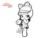 Desenho de Menina kawaii com sorvete para colorear