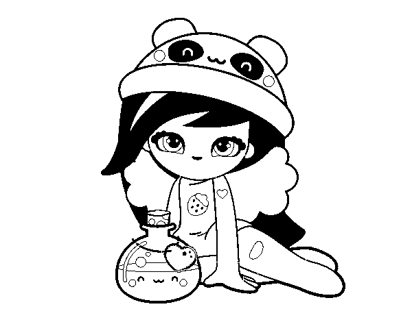 Desenho De Menina Kawaii Para Colorir