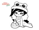 Desenho de Menina Kawaii para colorear