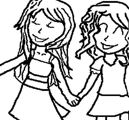 Desenho de Meninas agitação mãos para Colorir