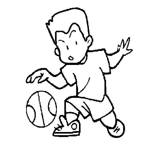 Desenho de Menino a chutar a bola para Colorir