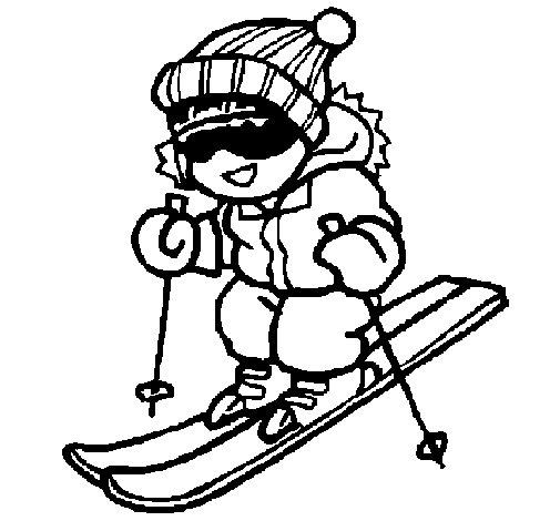Desenho de Menino a esquiar para Colorir