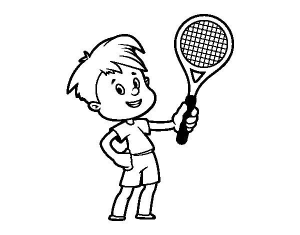 Desenho de Menino com raquete para Colorir