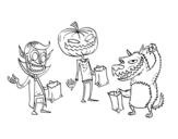 Desenho de Monstros doce ou travessura para colorear