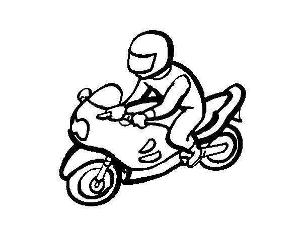 Desenho de Motociclista para Colorir