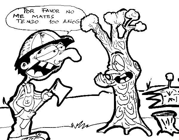 Desenho de NÃO ao desflorestação para Colorir