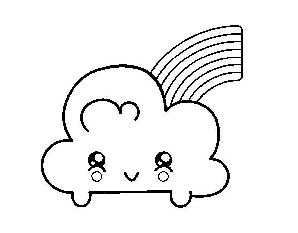 Desenho de Nuvem com arco-íris de Kawaii para Colorir