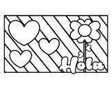 Desenho de Olá com amor para colorear