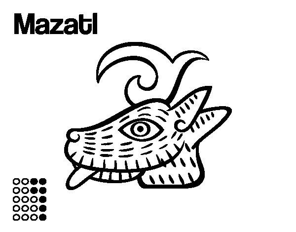 Desenho de Os dias astecas: veado Mazatl para Colorir