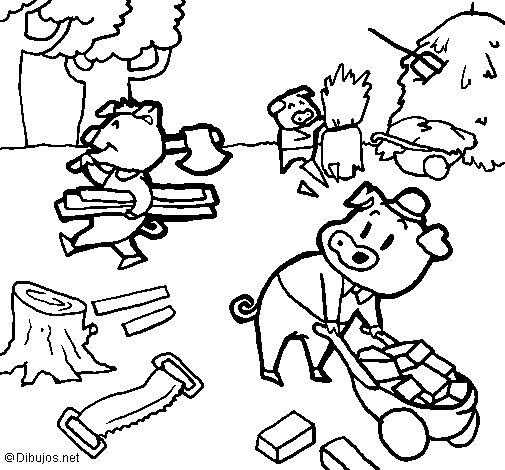 Desenho de Os três porquinhos 1 para Colorir