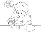 Desenho de Ovelhas pequenas para colorir ovos de páscoa para colorear