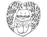Desenho de Pai gato e filhos para colorear